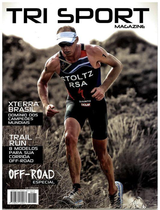Conrad Stoltz Caveman Hoka One One Stinson Evo Trail ITU Cross Tri World Champion 2013Tri Sport magazine cover