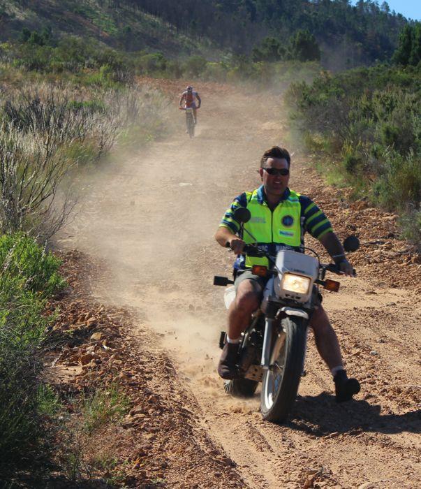 Conrad Stoltz caveman Val de Vie MTB lead motorbike