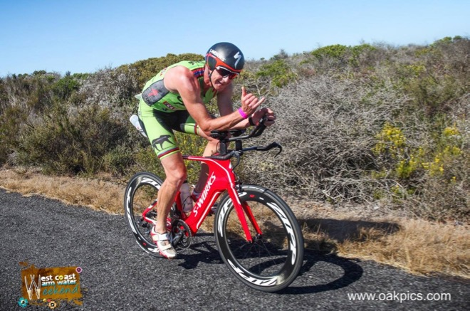 Conrad Stoltz Caveman Westcoast Warm Water Weekend Triathlon Specialized Shiv, Sworks McLaren TT helmet, Squirt lube, Suunto Ambit3, ClifBar, Oakley, LOOK pedals, Langebaan lagoon, TT