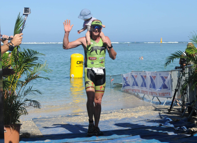 Conrad Stoltz Xterra Reunion finish with Zena